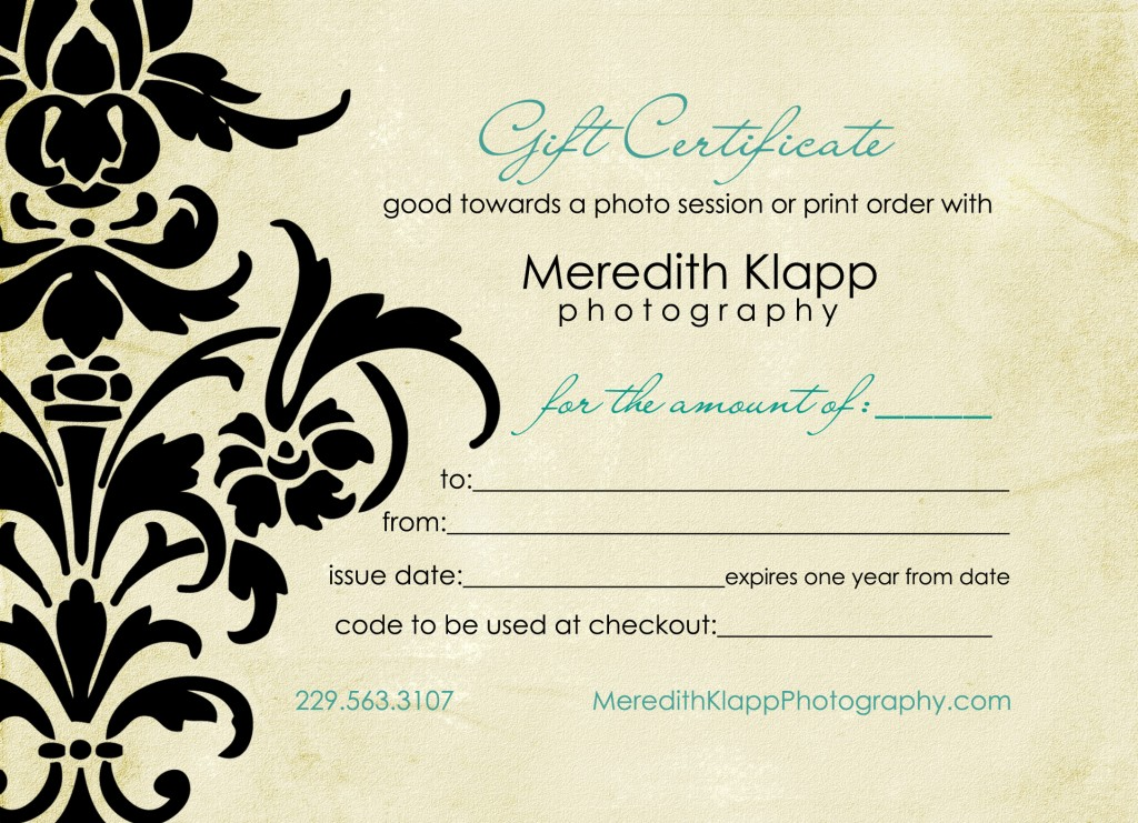 gift of a photography session this holiday season gift certificates